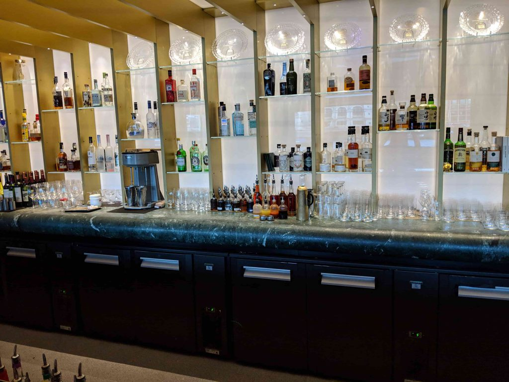Back bar with small selection of spirits