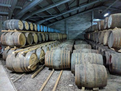 Many casks in a warehouse