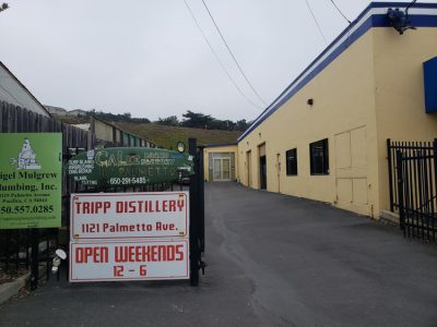 Entrance to distillery with sign