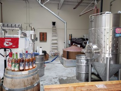 Still and barrels with bar in foreground